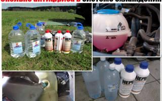 Сколько литров антифриза заливается
